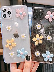 cheap -3D Flowers Bling Glitter Phone Case For iPhone SE 2020 / 11 / 11 Pro / 11 Pro Max / X / XS / XR /  XS Max / 8Plus / 8 / 7Plus / 7 Transparent Soft TPU Silicone Back Cover