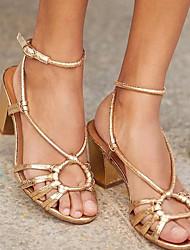 cheap -Women's Sandals Summer Block Heel Peep Toe Daily PU Gold / Brown