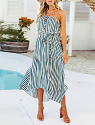 cheap -Women's Chiffon Dress - Sleeveless Striped Summer Fall Strap Boho Street chic Party Beach Belt Not Included 2020 Blue Yellow S M L XL