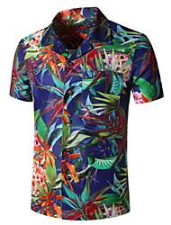 cheap -Men's Graphic Print Shirt Tropical Daily Button Down Collar Navy Blue / Short Sleeve
