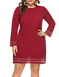 cheap -Women's Plus Size Shift Dress - Long Sleeve Solid Color Summer Fall Casual Elegant Daily Going out 2020 Red L XL XXL XXXL