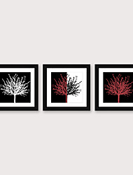 cheap -Framed Art Print Framed Set 3 - Abstract Black And White Red Flowers PS Illustration Wall Art Ready To Hang