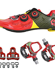 cheap -SIDEBIKE Adults' Cycling Shoes With Pedals & Cleats Road Bike Shoes Carbon Fiber Anti-Slip Cycling Black / Red Green / Black Men's Women's Unisex Cycling Shoes / Synthetic Microfiber PU