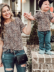 cheap -Mommy and Me Active Basic Leopard Short Sleeve Tee Brown