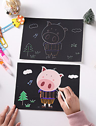 cheap -Drawing Toy Scratch Art Set Magic Scratch Paper Car Cartoon Airplane Fruit Animal Pure Paper Painting Creative Kid's Boys and Girls for Birthday Gifts or Party Favors