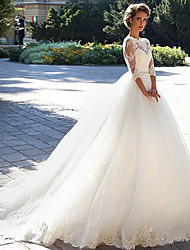 cheap -A-Line Wedding Dresses Off Shoulder Court Train Lace Tulle 3/4 Length Sleeve Formal Sexy Illusion Sleeve with Appliques 2020