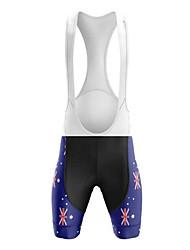 cheap -21Grams Men's Cycling Bib Shorts Summer Bike Bib Shorts Pants Padded Shorts / Chamois 3D Pad Ultraviolet Resistant Quick Dry Sports Australia Austria National Flag Black / Blue Mountain Bike MTB Road