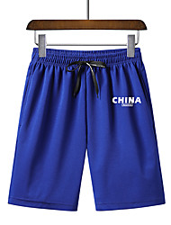 cheap -Men's Sporty Basic Plus Size Daily Going out Slim Sweatpants Shorts Pants - Solid Colored Letter Fantastic Beasts, Sporty Print Breathable Spring Summer Black Blue Red US34 / UK34 / EU42 / US36