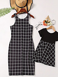 cheap -Mommy and Me Vintage Sweet Black & White Geometric Color Block Check Print Sleeveless Knee-length Dress Black