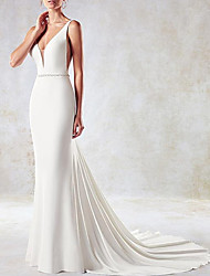 cheap -Mermaid / Trumpet Wedding Dresses V Neck Sweep / Brush Train Lace Tulle Stretch Satin Sleeveless Simple Sexy Backless Cape with Sashes / Ribbons 2021