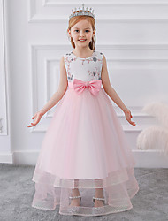 cheap -Kids Girls' Cute Patchwork Bow Mesh Print Sleeveless Maxi Dress Blushing Pink