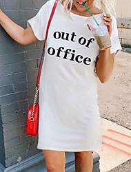 abordables -Femme Robe Droite Mini robe Courte Manches courtes Eté - Simple Lettre 2020 Blanche S M L XL