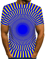 cheap -Men's Graphic 3D Print Blue & White Print T-shirt Basic Exaggerated Daily Purple / Orange / Green / Navy Blue / Light Blue