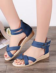 cheap -Women's Sandals Flat Sandal Summer Flat Heel Peep Toe Daily Canvas Dark Blue / Light Blue