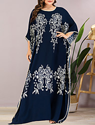 cheap -Women's Plus Size Maxi Shift Dress - Half Sleeve Floral Summer Casual Elegant Daily Going out Batwing Sleeve Loose 2020 Blue One-Size