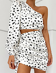 cheap -Women's Sophisticated Blouse - Polka Dot, Ruffle Skirt