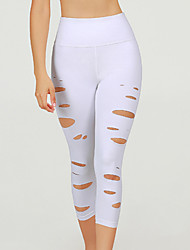 cheap -Women's High Waist Yoga Pants Cut Out Capri Leggings Butt Lift 4 Way Stretch Breathable White Nylon Non See-through Gym Workout Running Fitness Sports Activewear High Elasticity / Moisture Wicking