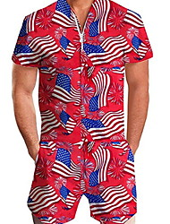 cheap -Men's Basic Red Romper Onesie, National Flag Print US32 / UK32 / EU40 US34 / UK34 / EU42 US36 / UK36 / EU44