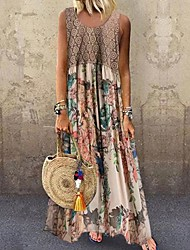 cheap -Women's Maxi long Dress Beige Sleeveless Floral Print Summer Round Neck Hot 2021 S M L XL XXL 3XL 4XL 5XL