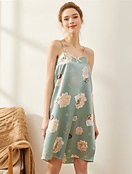 Недорогие -Жен. Глубокий V-образный вырез Loungewear Пижамы Цветочный принт
