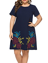 cheap -Women's Plus Size Shift Dress - Short Sleeves Floral Summer Casual Elegant Daily Going out Loose 2020 Blue L XL XXL