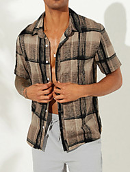cheap -Men's Striped Shirt Daily Button Down Collar Blue / Brown / Short Sleeve