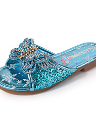 cheap -Girls' Comfort / Flower Girl Shoes PU Slippers & Flip-Flops Glitter Crystal Sequined Jeweled Little Kids(4-7ys) / Big Kids(7years +) Rhinestone / Bowknot / Sparkling Glitter Pink / Blue / Silver