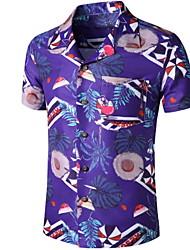 cheap -Men's Graphic Print Shirt Tropical Daily Button Down Collar Purple / Short Sleeve