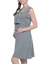 cheap -Women's Shift Dress Knee Length Dress - Sleeveless Solid Color Summer Casual 2020 Navy Blue Gray S M L XL