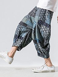 cheap -Men's Sporty Chinoiserie Loose Cotton Chinos Pants - Print Drawstring Comfort Blue Red Light Blue US32 / UK32 / EU40 / US34 / UK34 / EU42