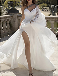cheap -A-Line Wedding Dresses One Shoulder V Neck Sweep / Brush Train Chiffon Sleeveless Vintage Sexy Wedding Dress in Color with Split Front 2020