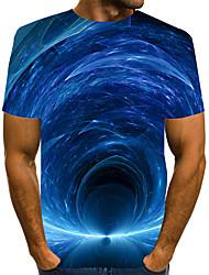 Недорогие -Муж. Графика 3D-печати Синий С принтом Футболка Классический преувеличены Повседневные Круглый вырез Синий / С короткими рукавами