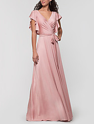 cheap -A-Line V Neck Floor Length Charmeuse Bridesmaid Dress with Pleats