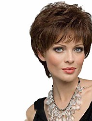 cheap -Synthetic Wig Curly Matte Layered Haircut Wig Short Natural Black Dark Brown / Dark Auburn Synthetic Hair 6 inch Women's Sexy Lady Exquisite curling Black Brown