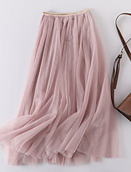 cheap -Women's Swing Skirts - Solid Colored Black Blushing Pink Beige One-Size