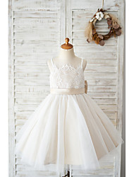 cheap -Ball Gown Knee Length Wedding / Birthday Flower Girl Dresses - Lace / Tulle Sleeveless Spaghetti Strap with Bow(s)