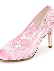 cheap -Women's Wedding Shoes Spring / Summer Stiletto Heel Peep Toe Minimalism Wedding Party & Evening Solid Colored Satin / Mesh White / Black / Pink