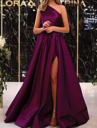 cheap -A-Line Elegant Minimalist Engagement Formal Evening Dress One Shoulder Sleeveless Floor Length Satin with Pleats Split 2020