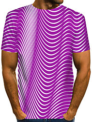 cheap -Men's Graphic 3D Print Blue & White Print T-shirt Basic Exaggerated Daily Black / Purple / Red / Yellow / Green / Navy Blue / Light Blue