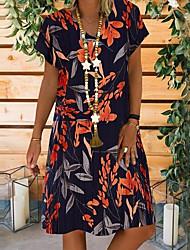 ieftine -Pentru femei Rochie A-line Rochii Lungime Genunchi - Mânecă scurtă Imprimeu Vară Casual mumu 2020 Negru Bej S M L XL XXL XXXL XXXXL XXXXXL