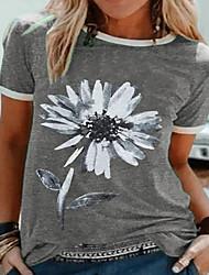 billige -Dame Blomstret T-skjorte Rund hals Daglig Blå Lilla Rød Grønn Grå S M L XL 2XL 3XL 4XL 5XL