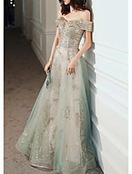 cheap -A-Line Elegant Glittering Engagement Formal Evening Dress Off Shoulder Short Sleeve Floor Length Tulle with Sequin 2020