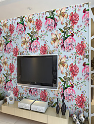 cheap -Custom Self-Adhesive Mural Wallpaper With Blue Background And Multicolor Flowers Are Suitable For Bedroom Living Room Hotel Wall Decoration ArtWall Cloth Room Wallcovering