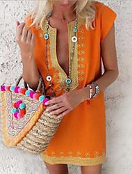 Недорогие -Жен. Платье A-силуэта Мини-платье - Короткие рукава Полоски Лето На каждый день Шинуазери (китайский стиль) 2020 Зеленый S M L XL XXL XXXL