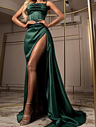 cheap -Sheath / Column Elegant Green Party Wear Formal Evening Dress Spaghetti Strap Sleeveless Sweep / Brush Train Satin with Ruched Split 2020