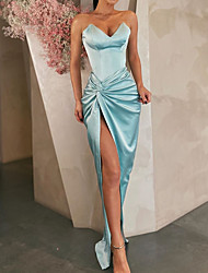 cheap -Sheath / Column Minimalist Blue Party Wear Formal Evening Dress Sweetheart Neckline Sleeveless Floor Length Satin with Draping Split 2020