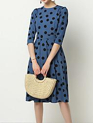 cheap -Women's Chiffon Dress - Half Sleeve Polka Dot Summer Elegant 2020 Black Blue S M L XL XXL