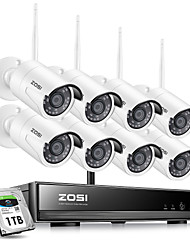 cheap -ZOSI H.265 1080P Wireless CCTV System 2MP 8CH Powerful NVR IP IR-CUT Bullet CCTV Camera WiFi IP Security System Surveillance Kits with 1TB Hard Disk