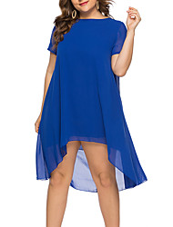 cheap -Women's Plus Size Asymmetrical Shift Dress - Short Sleeves Solid Color Summer Casual Elegant Daily Going out Loose 2020 Blue XL XXL XXXL XXXXL