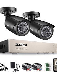 cheap -ZOSI H.264 AHD CVI TVI CVBS Analog 4CH CCTV System 2PCS 1080p Outdoor Weatherproof Security Camera with 720P DVR Kit Day/Night Home Video Surveillance System